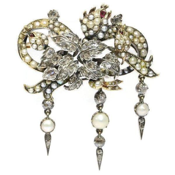 Online veilinghuis Catawiki: Bloemenbroche van Victoriaans zilver op goud, volledig versierd met diamanten, robijnen en parels – jaar 1870