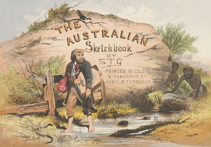 Title page of The Australian Sketchbook by ST Gill, 1865.
