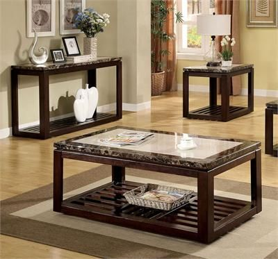 Furniture Design Living Room Coffee Table Sets Vernon Contemporary Style Square Two Toned Faux Marble Top Dark Walnut Wood