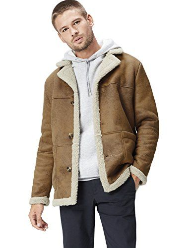 72d630c7c10 FIND Men s Faux Suede Shearling Coat