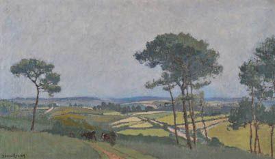 """Louis Marie Désiré-Lucas 1869-1948 """" La route de Quimper. Le retour du troupeau """" hst  titrée so dos 54x92  Expo Musée de Bruxelles 1926"""