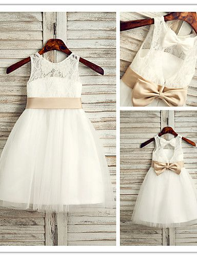Flower Girl Dress Tea-length Lace/Tulle A-line Sleeveless Dress – USD $ 49.99
