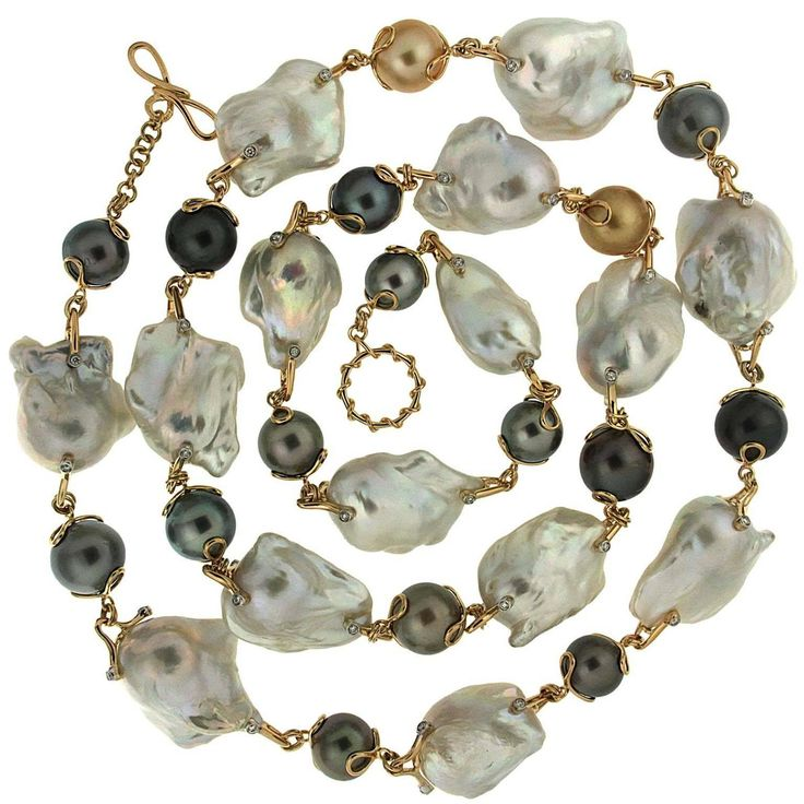 Baroque Fresh Water Pearl and round Tahitian Pearl necklace with diamonds | From a unique collection of vintage beaded necklaces at https://www.1stdibs.com/jewelry/necklaces/beaded-necklaces/