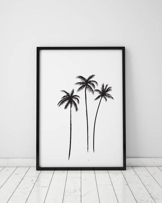 TREE BLACK SILHOUETTE SHAPE ART PRINT Poster Interior Decor Wall Plants Artwork