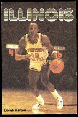 1982-83 ILLINOIS FIGHTING ILLINI EISNER BASKETBALL POCKET SCHEDULE DEREK HARPER