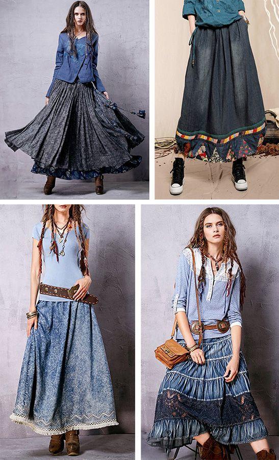 Джинсовые юбки бохо