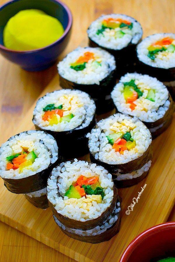 Vegetarian Kimbap Korean Seaweed Rice Roll Gilded Gingerbread Recipe Food Kimbap No Dairy Recipes