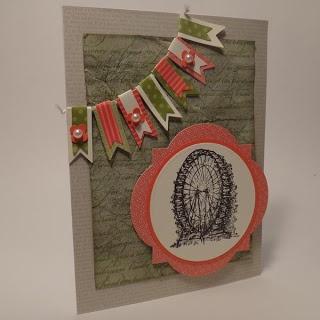 Paper craft and card idea using Stampin' Up Feeling Sentimental stamp set, En Francais stamp set, Window Frame Framelits and Bitty Banner Framelits. http://supersuelovestocraft.blogspot.com/