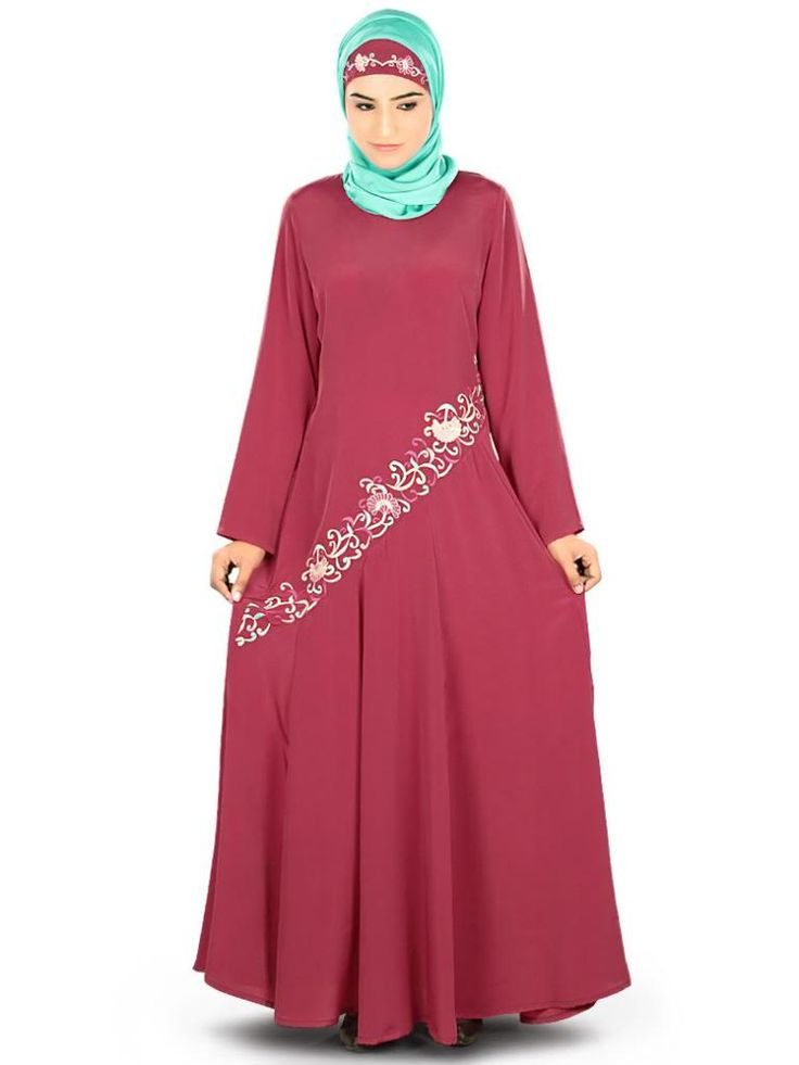 Beautiful Delicate Embroidered Rose Pink Party Wear Samiyah #Abaya|#MyBatua.com Style No : AY-325 Price : $56.50 Available Sizes XS to 7XL