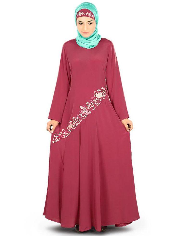 Beautiful Delicate Embroidered Rose Pink Party Wear Samiyah #Abaya #MyBatua.com Style No : AY-325 Price : $56.50 Available Sizes XS to 7XL