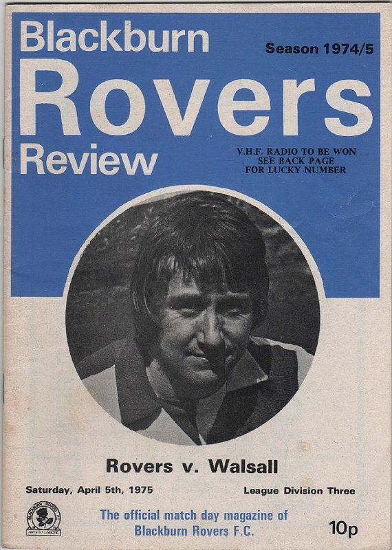 Vintage Football (soccer) Programme - Blackburn Rovers v Walsall, 1974/75 season, by DakotabooVintage