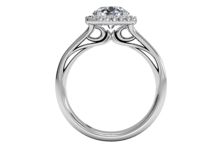 Round Cut Cushion French-Set Halo Diamond Engagement Ring in 14kt White Gold 0.13 CTW