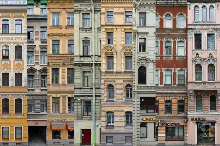 Un blogueur russe photographie les vieux bâtiments du centre historique de Saint-Pétersbourg.