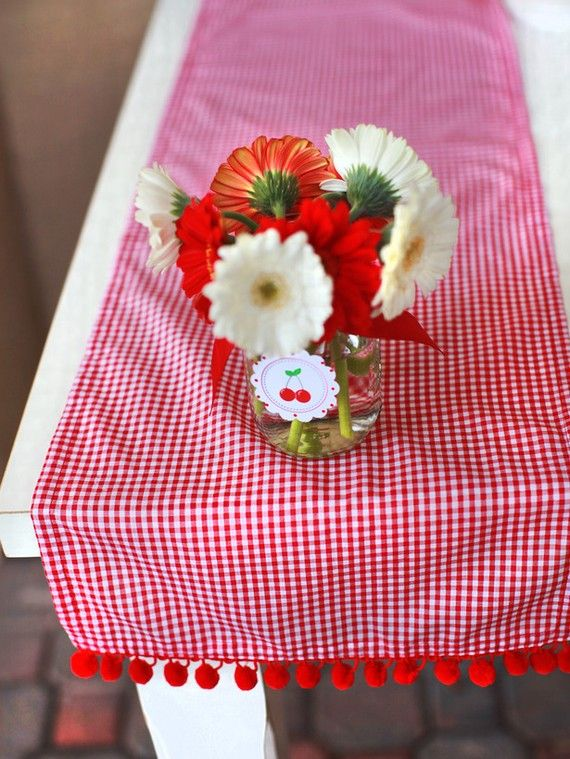 Red Gingham Table Runner With Cute Pom Pom Edges By @A To Z Celebrations