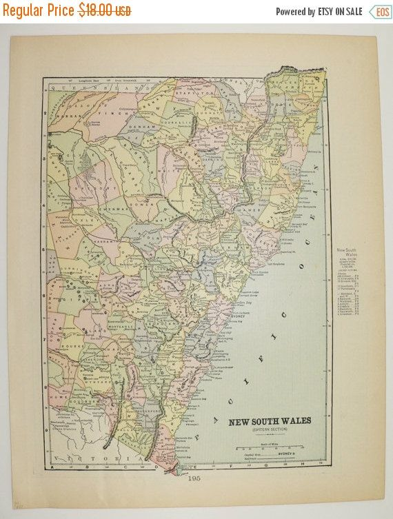 1897 New South Wales Map Vintage Map of Australia Victoria Queensland Map NSW, Travel Map, Australia Geography Art Gift for Couple available from OldMapsandPrints.Etsy.com #NewSouthWales #NSWAustralia