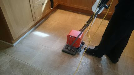 Advantex Cleaning - Getting to grips with a heavily soiled Bath Stone Floor near Bath
