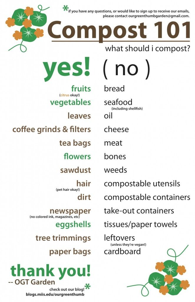"Printable for what to compost & what not to compost - I was surprised about a couple of items in the ""no"" list:paper towels and cardboard.  Now I know!"