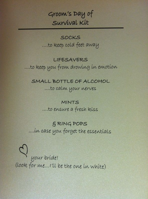 Groom's Day of Survival Kit :) :  wedding Grooms Survival Kit, so cute! i would do this but more personnelized  , and less alcohol  :)