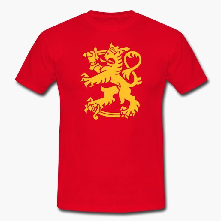 """Finnish lion symbol. Suomen leijona t-paita oikeissa vaakunaväreissä. tags: Suomi, leijonapaita, t-paita https://shop.spreadshirt.fi/revolt-noir/""""leijona""""-A106381481?appearance=5"""