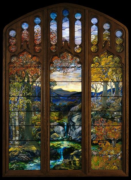 Attributed to Agnes F. Northrop. Autumn Landscape, 1923–24. American. The Metropolitan Museum of Art, New York. Gift of Robert W. de Forest, 1925 (25.173a–o). | A tour de force in its medium, this window, executed late in Tiffany's career, portrays the late afternoon sun filtered through rich autumnal foliage.