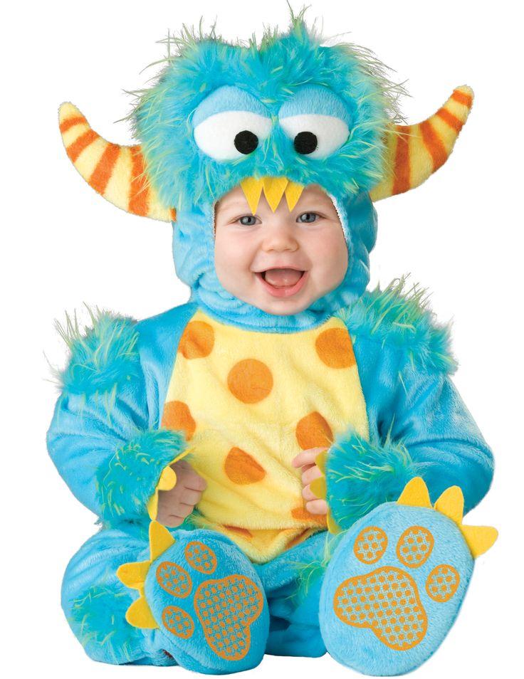 Costume piccolo mostro neonato / bambino - Lusso: Questo costume da piccolo mostro é per neonato/bambino e comprende una tuta, un copricapo e due pantofoline.La tutina é in tessuto morbido blu con delle chiazze di peli sintetici alle...