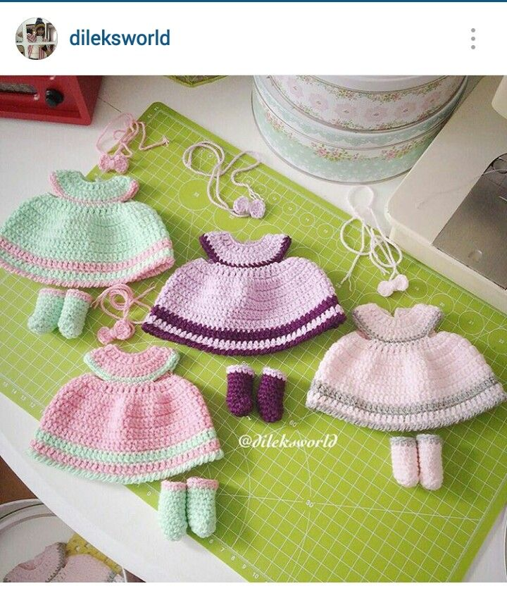 Instagram @dileksworld - finished crochet dresses for amigurumi dolls. I would like to make these into baby girl dresses. Very cute.