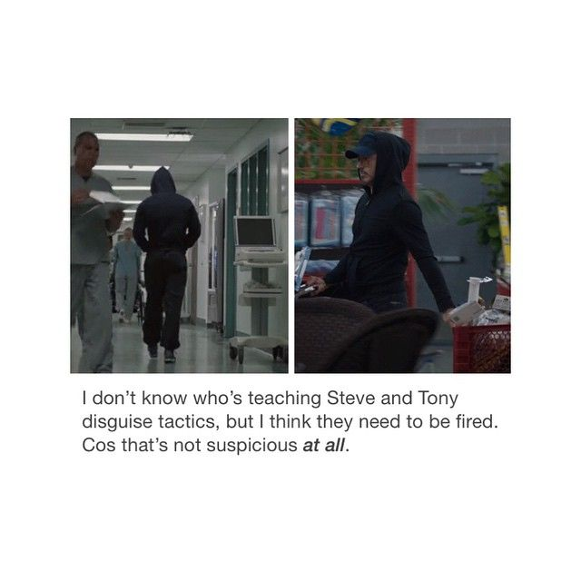 A hooded jacket and sweatpants does not make you stealthy, Tony and Steve