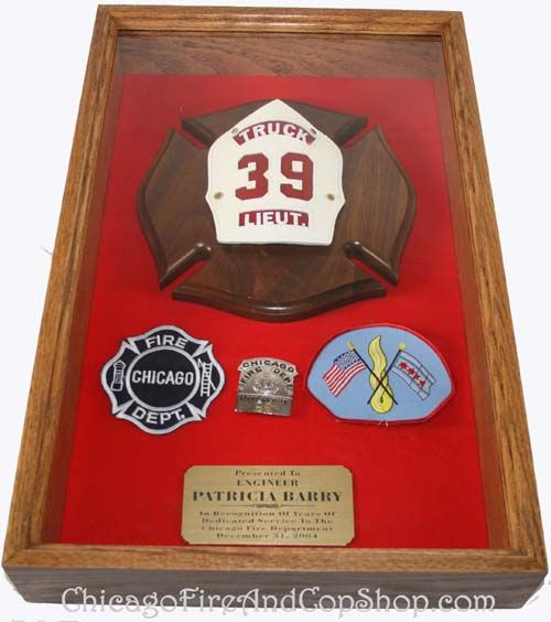 2182 14 x 12 Shadow Box ChicagoFireAndCopShop.com Chicago Fire Department and Chicago Police Department gifts.