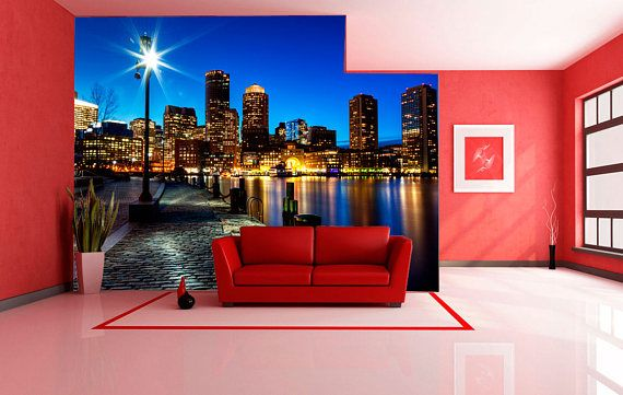 Large wall mural. Poster night city landscape. Colorful photo
