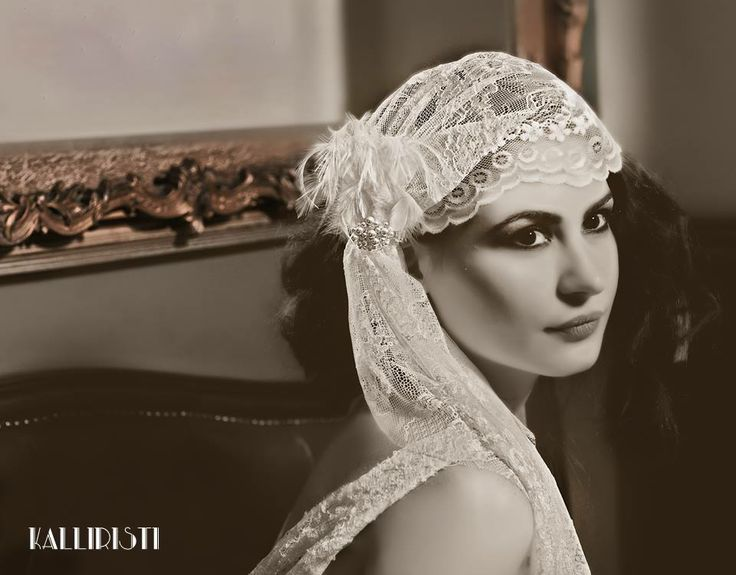 Lace cap with feather pin, www.kalliristi.com.