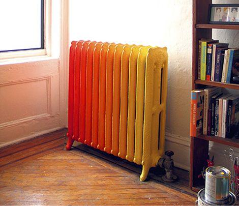 Diy ombre radiator.: Warm Color, Decor Style, Cute Ideas, Paintings Radiator, Apartment Necessities, New York, House, Ombre Radiator, Design