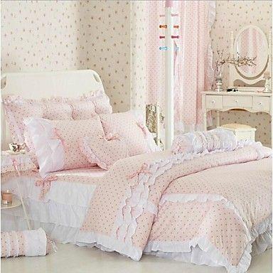 fadfay rosa cama de bolinhas define rústico tampa bonito edredon meninas definido conjunto de cama coreano rainha da cama - BRL R$ 388,09