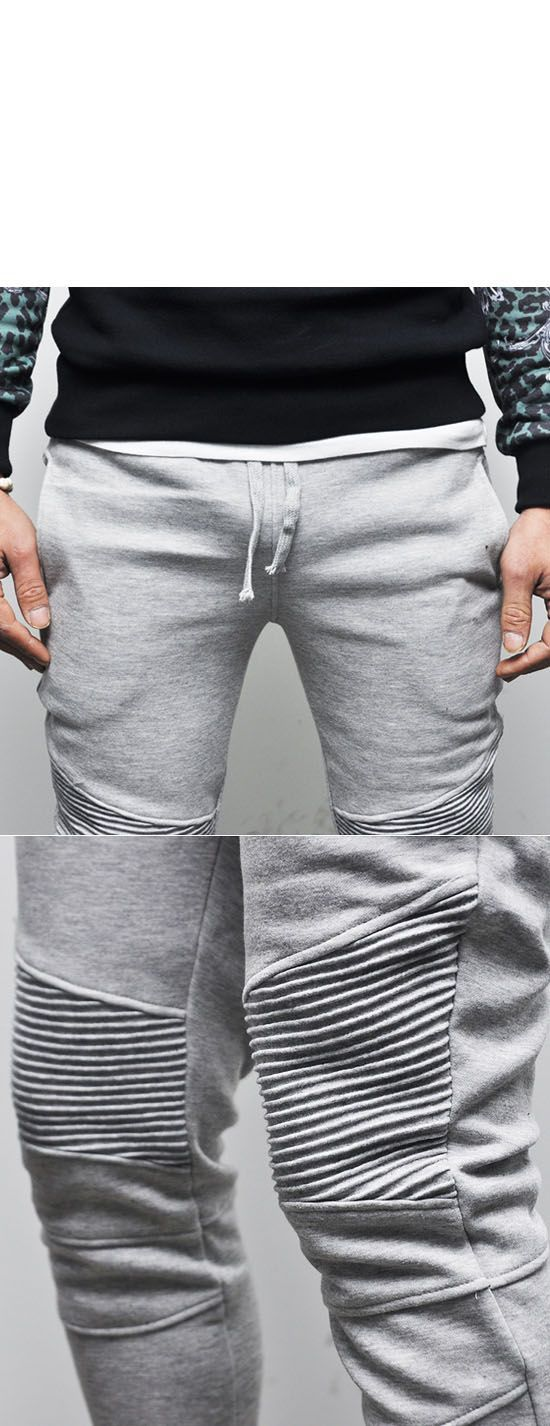 Bottoms :: 3col) Designer Homme Seaming Slim Biker-Sweatpants 87 - Mens Fashion Clothing For An Attractive Guy
