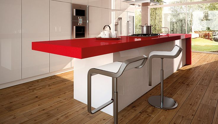Red Countertop Materials : Caesarstone Red Shimmer 3452- kitchen island with white cabinets ...