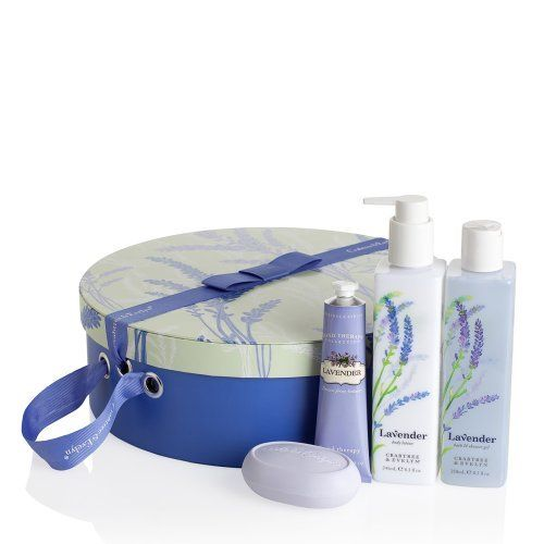 Crabtree & Evelyn Lavender - Hat Box by Crabtree & Evelyn. $58.00. Lavender Triple Milled Soap (3.0 oz). Lavender Body Lotion (8.3 oz). Lavender Bath & Shower Gel (8.5 oz). Fragrance: Fresh lavender enhanced with violet, tonka bean, lemon leaf, and soft musk.. Lavender Hand Therapy (1.8 oz). Discover a uniquely elegant way to give the gift of silky soft skin.Our beautifully printed hat box opens to reveal four Lavender luxuries that will leave skin moisturised, conditione...
