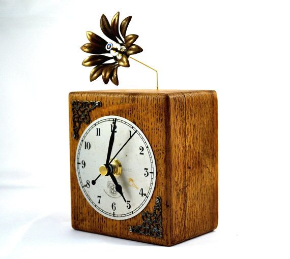 Desk Clock Mantel Clock Steampunk Rustic Home Decor by Chanchala @teamupcyclers