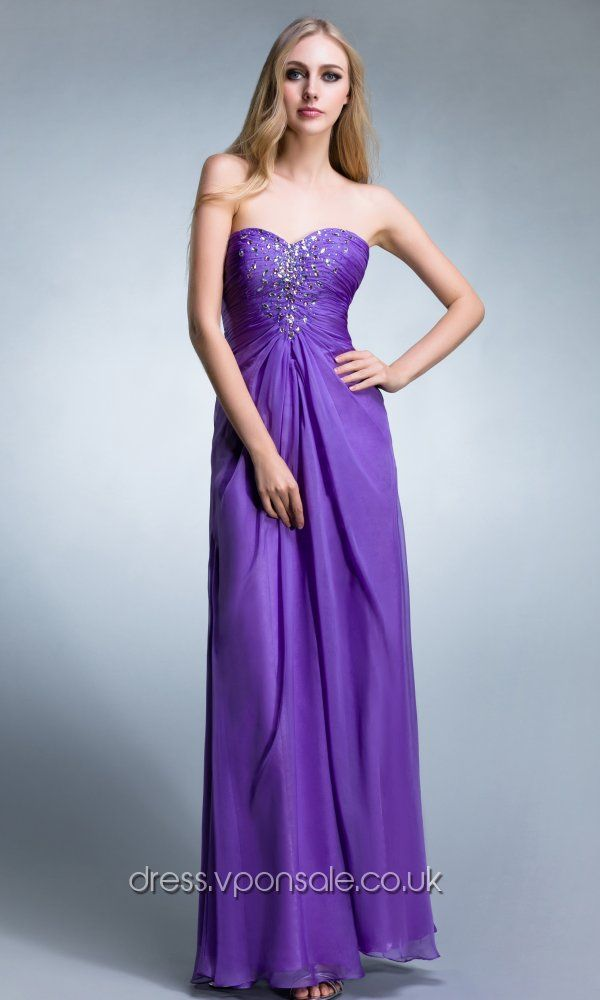 Purple Beaded Strapless Chiffon Prom Dresses
