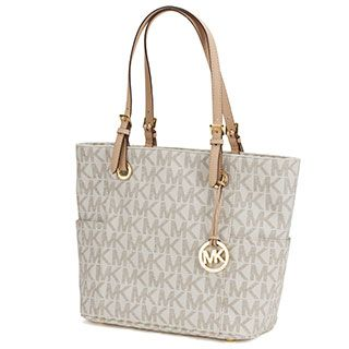 MICHAEL Michael Kors East/West Brown Signature Tote Bag | Overstock.com Shopping - The Best Deals on Satchels