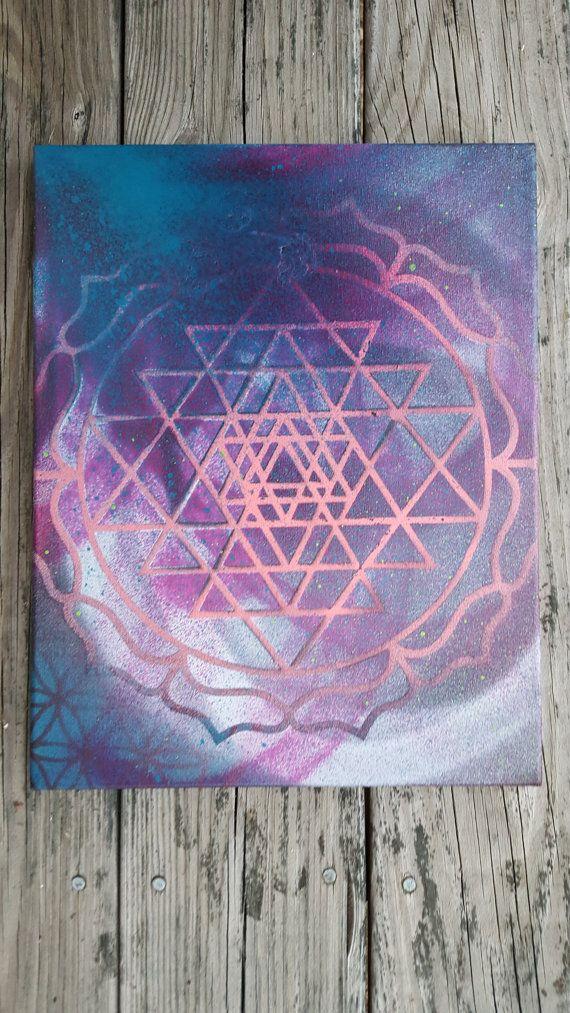 Middellange heilige geometrie schilderij--Sri Yantra, bloem van het leven, of 64 Star-Tetahedron