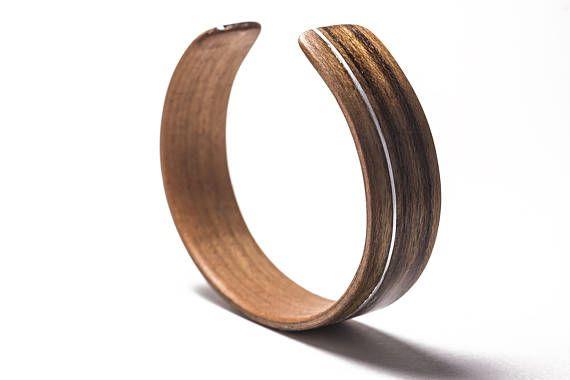Burmese Teak Bentwood Cuff/Bracelet with Aluminum inlay