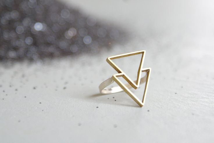 the Double Triangle ring by foxtailboutique on Etsy