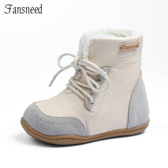Cuero genuino del niño femenino antideslizantes botas de nieve niño botas de mediano piernas masculinas niño de algodón acolchado zapatos outsole suave zapatos de bebé