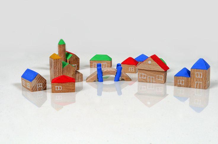 Wooden miniature houses - Set of 11pcs 3D houses - Miniatute wooden village - Hand painted houses