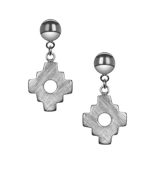 "From the Kamari Collection, these ""petite"" sterling silver Chakana cross earrings are made with a satin finish and are a mini version of the bigger Chakana style earrings. #silver jewelry #silver earrings"