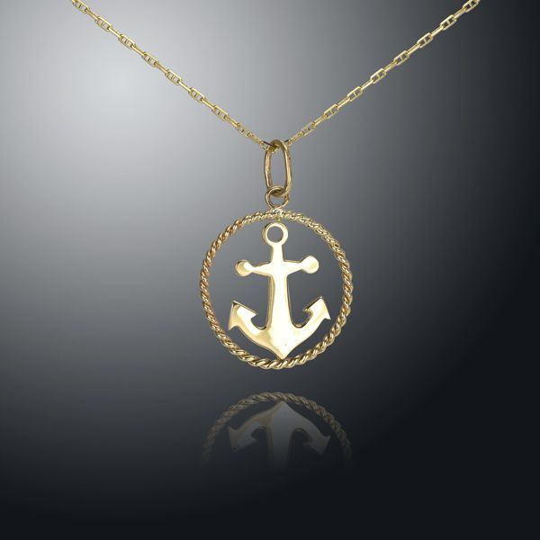 14K Yellow Gold Anchor Rope Pendant
