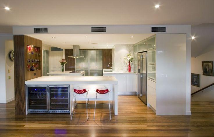 modern kitchen w/ red accents