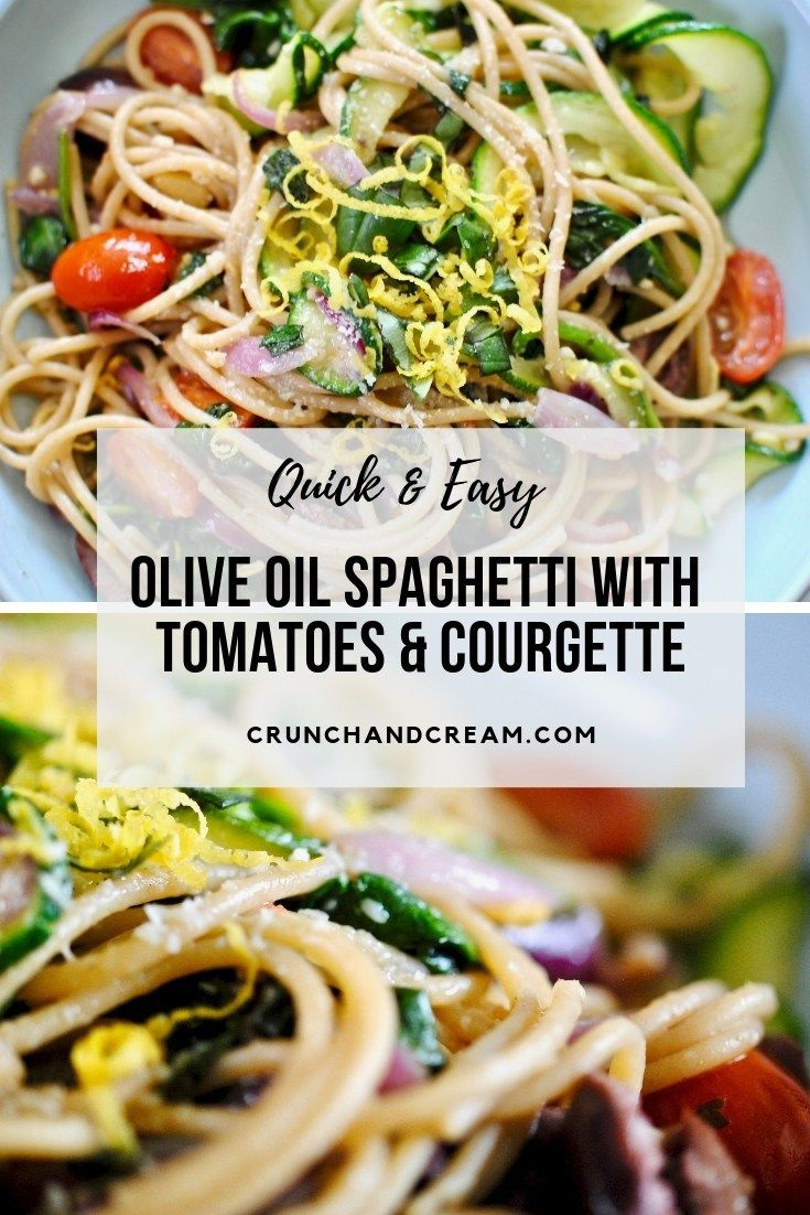 Light Olive Oil Spaghetti With Tomatoes Courgette Recipe