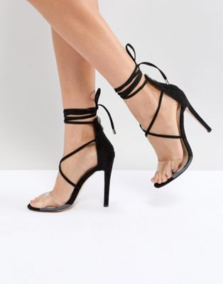 9e9fee4ea06 Public Desire Aster Black Clear Strappy Sandals