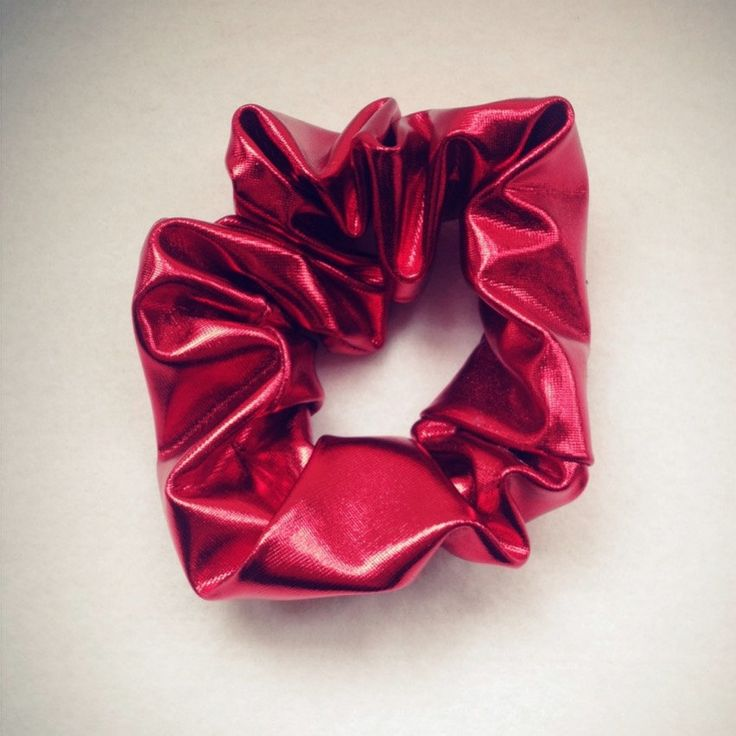 Handmade Metallic Shiny Silver and Red Scrunchies, Elastic Hair Ties, Hairband, Hair accessorise,Ponytail by HumanCat on Etsy
