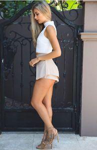Women High Waist Trousers Overlay Front Stunning Beige Nude Shorts Bottom Pants